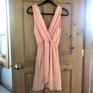 TFNC Peach Chiffon Deep V Cocktail Mini Dress